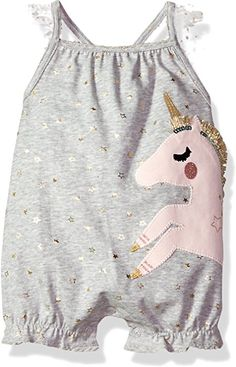 07f8103af Amazon.com: Mud Pie Baby Girls Unicorn Flutter Sleeve Bubble Romper  Playwear, Gray