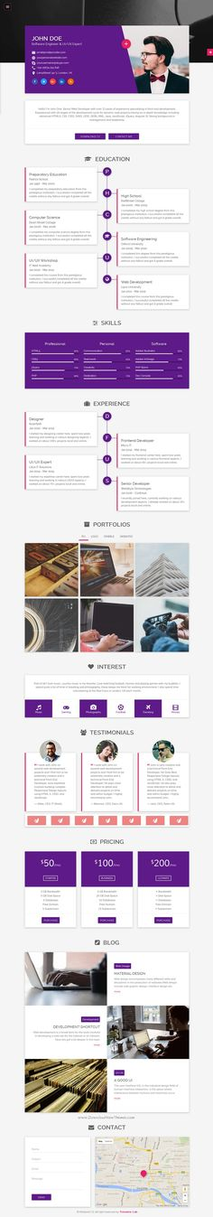 Flatrica is Material Design based responsive one-page personal online #resume bootstrap site #template.