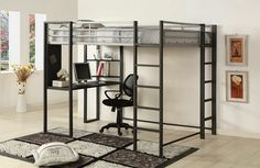 """Sherman silver and gun metal finish metal frame Full size loft Bunk bed with desk are with shelves underneath. This set features a silver and gun metal finish metal frame with a desk area with shelves underneath. Measures 80 7/8"""" x 58 1/2"""" x 72"""" H. Some assembly required. SKU CM-BK1098F"""