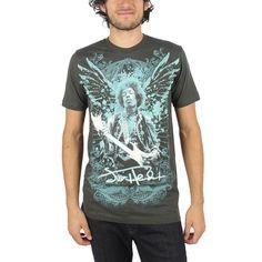 Jimi Hendrix - Mens Wings T-Shirt In Coal