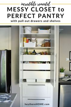 Transform your dysfunctional closet pantry into an organized kitchen pantry with drawers and pull out shelves! Click through to see this pantry makeover and how she created an organized pantry with Ikea cabinets. Organized Kitchen, Kitchen Organization Pantry, Small Space Organization, Kitchen Pantry, Kitchen Storage, Ikea Kitchen, Kitchen Decor, Kitchen Design, Kitchen Ideas