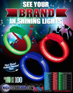 NightclubShop.com - LED WRISTBANDS - PERSONALIZED - CUSTOM - Light Up Optical Engraved LED Bands, $249.99 (http://www.nightclubshop.com/led-wristbands-personalized-custom-light-up-optical-engraved-led-bands/)