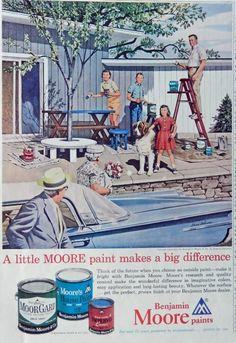 Benjamin Moore Paints 60 s Vintage print ad  Color Illustration  Stevan Dohanos painting  1961 art