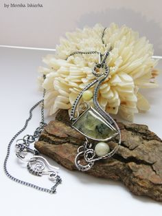 Enid wire wrapped necklace prehnite sterling and by MeaJewelry