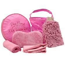 Pink car cleaning kit