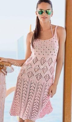 Легкое и красивое платье,связанное спицами,будет для вас отличным нарядом в жаркие солнечные дни. Обсуждение на LiveInternet - Российский Сервис Онлайн-Дневников
