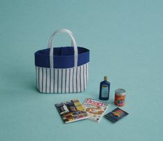 Beach Bag in Blue and White Stripes with by TinytownMiniatures