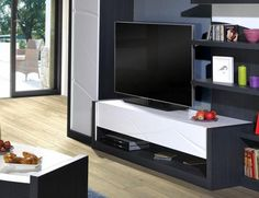 Contemporary high gloss white and dark grey wood effect TV unit