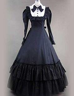 Langarm bodenlangen Black Cotton Gothic Lolita Kleid