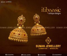 This Jhumkkas is all you need for something out-of-the-box to go with your attire on a special occasion. Exclusive Itihaasic Collection from Suman jewellery Gold Temple Jewellery, Gold Wedding Jewelry, Gold Jewelry Simple, Silver Jewellery, Gold Jhumka Earrings, Jewelry Design Earrings, Gold Earrings Designs, Gold Mangalsutra Designs, Jhumka Designs