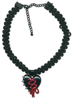 I HAVE TO HAVE THIS SIMPLE  AMAZING THING.   Spiky Heart Choker.  This choker features a black heart with red corset-style lacing and silver spikes along the side.   Heart measures 1 inch.    $9.99