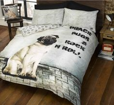 Pugsy Pug Dog Close Up Face Duvet Cover Quilt Bedding Set (Single Double Duvet Set, Double Duvet Covers, Single Duvet Cover, Bed Covers, Pillow Covers, Comforter Cover, Duvet Bedding, Comforter Sets, King Comforter