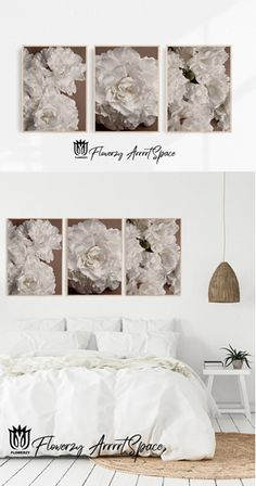 Bedroom Wall, Bedroom Decor, Autumn Interior, Floral Artwork, Big Photo, White Peonies, White Colors, Wallpaper S, Etsy Handmade