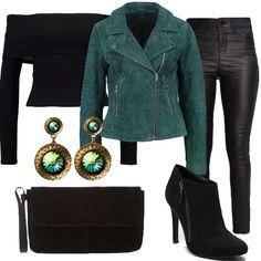 Outfit sexy con la moda donna Petite. Pantalone black aderente abbinato a maglietta black che lascia le spalle scoperte. La giacca in pelle, regala luce insieme agli splendidi orecchini green. Completano questo look la pochette e gli stivaletti black.