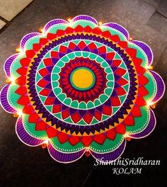 Indian Rangoli Designs, Rangoli Designs Latest, Simple Rangoli Designs Images, Rangoli Designs Flower, Rangoli Patterns, Rangoli Ideas, Rangoli Designs With Dots, Flower Rangoli, Beautiful Rangoli Designs