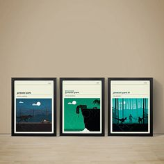 Jurassic Park Movie Posters - Set of Prints, Movie Poster, Movie Print, Film Poster, Jurassic Park Poster, A3