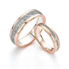 Inlaid Fingerprint wedding rings