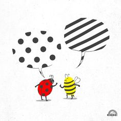 A bee and a ladybird discuss who has a better graphic pattern. Fantastic illustration in Lim Heng Swee's Doodle Everyday project. Jacques A Dit, Photographie Portrait Inspiration, Doodles, Funny Drawings, Humor Grafico, Stripe Print, Polka Dots, Art Prints, Creative