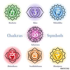 Vecteur : Chakras symbols vector set