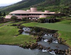 King Kamehameha Golf Course Clubhouse. 1993. Waikapu, Maui, Hawaii. Taliesin Associated Architects. Based on the unbuilt Arthur Miller & Marylyn Monroe House 1957.