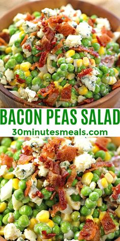 Pea Salad Recipes, Veggie Recipes, Healthy Recipes, Bacon Pea Salad, Side Dish Recipes, Dinner Recipes, Easy Cooking, Cooking Recipes, Vegetable Sides