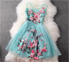 Embroidered Lace Dress In Light Blue