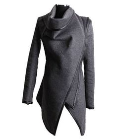 Edgy Peacoat Women's SolidDark Grey A-Symmetrical Slim Fit Wool Pea/Trench Coat #Zeagoo #Peacoat