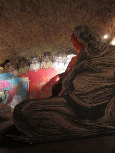 """""""Murmuration"""" Mixed media installation, Black Rat Projects, London, 2012. Caledonia Curry / Swoon"""