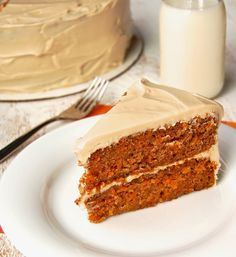 A moist, lightly spiced gluten-free carrot cake with rich, maple cream cheese frosting.
