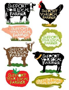 Support your local Farmer bumper sticker collection 8 different designs Cow, she. Farmers Market Display, Market Displays, Farmers Market Recipes, Farmers Market Stands, Farmers Market Signage, Produce Displays, Farm Store, Shop Local, Buy Local