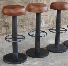 Tabouret de bar en acier naturel et cuir marron antique Loop