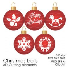 Christmas Ball SVG 300 dpi svg, dxf, jpg, ai, eps, png Clip Art 3D Cutting elements Xmas Noel Die Cut Silhouette Cameo EasyCutPrintPD
