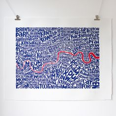 Map of London red/blue limited edition typographic city map screen print by Ursula Hitz