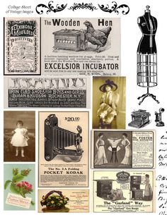 LOTS of Free Vintage Images at this site...FREE Printable Collage Sheet