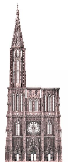 061-RAYONNANT GOTHIC, France -  West facade of Strasbourg cathedral. The west front of Strasbourg cathedral, was begun c. 1275, by master Erwin, who admired, south and north transept of Notre-Dame, Paris as well as St-Urbain.