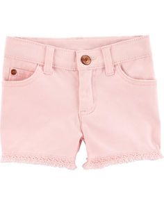 Give her a cool look for warm weather with these girls' Carter's fringe-hem twill shorts. In pink. Toddler Girl Shorts, Baby Girl Pants, Carters Baby Girl, Toddler Outfits, Girl Outfits, Baby Boy, Girls Denim Shorts, Denim Jeans, Skinny Jeans