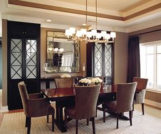 Dining Room: Decorative Mirrors For Dining Room With Elegant Frame Mirror, Modern Dinning Table Set And Using Unique Chandelier, Decorative Mirrors for Dining Room, Decorative Wall Mirrors ~ Homedesignatian.com