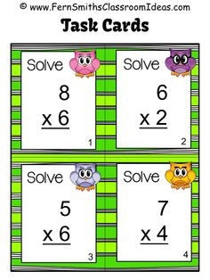 #FREE Four Single Digit Multiplication Task Cards - Owl Themed for Doubles with the FREE Preview at #TPT #FREEBIE #FernSmithsClassroomIdeas
