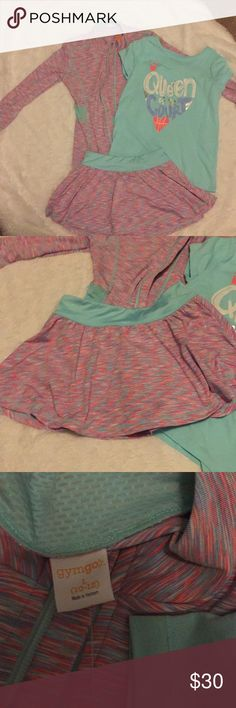 3 piece Gymboree tennis outfit 3 piece outfit. Jacket is NWT, shirt and skirt were worn once. All pieces are a 10/12. Jacket has the thumb holes and the skirt has shorts underneath. This is a great buy. Gymboree Matching Sets