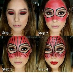 """Pictorial on my Spider-Woman look… Brows: Dip Brow Pomade in Chocol… Welcome to the Halloween Makeup! ☆ Halloween Makeup is the very best halloween picture montage game to include halloween makeup on your image! Visage Halloween, Halloween Kostüm, Group Halloween, Spider Woman Halloween Costume, Diy Halloween Face Paint, Halloween Costume Makeup, Diy Womens Halloween Costumes, Halloween Inspo, Spiderman Makeup"