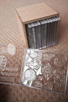 storage for clear stamps Buenísima idea: Carcasas de CD para guardar los clear stamps, tenerlos organizados y cuidados