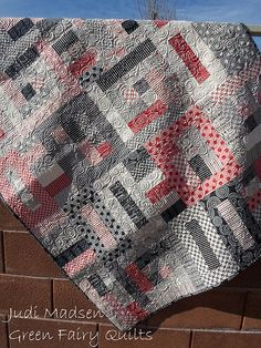"""Strip This Quilt pattern by Judi Madsen of Green Fairy Quilts. Made with """"Mama Said Sew,"""" by Sweetwater."""