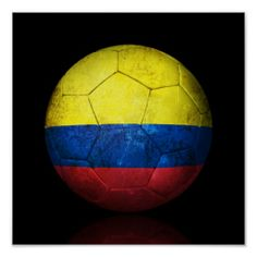 Worn Colombian Flag Football Soccer Ball Poster