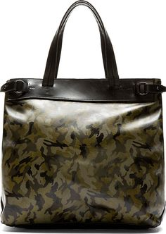Yohji Yamamoto - Camo & Black Leather Tote Bag   SSENSE
