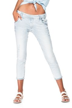 Laid-back style striped jeggings | 117184 White | Salsa