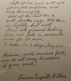 Laura Ingalls Wilder's handwritten gingerbread recipe from the Herbert Hoover exhibit
