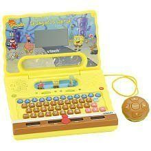 "Vtech SpongeBob Laptop by Vtech. $43.47. Come into the Krusty Krab for fun and thrills with the Spongebob Laptop from Vtech! This fabulous learning system provides 15 activities, covering words, numbers, games and more! It's styled with a fantastic Spongebob appearance and features three special mini games, vivid graphics and wacky sound effects. A black-and-white 3.75"" LCD display (measured diagonally), realistic QWERTY keyboard and a cursor mouse makes it easy to use; it lo..."