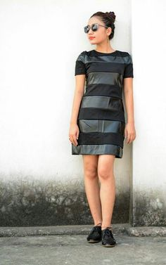 Black striped leather DRESS. TO buy drop a comment