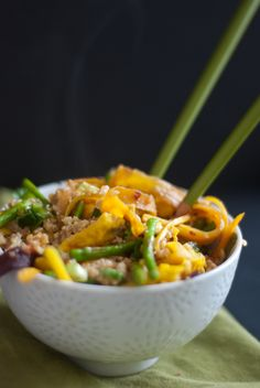 stir-fried millet (w/asparagus, egg and carrots, sesame oil, ginger ...