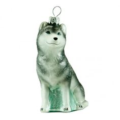 Glass ornament - a husky dog.